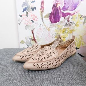 Aldo Pink Pointed Toe Leather Flats